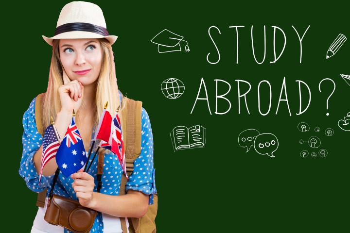 Study Abroad text with young woman with flags